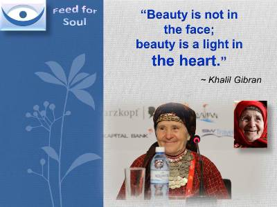 "Khalil Gibran on Beauty Quotes: Beauty is not in the fase; beauty is a light in the heart"" Feed4Soul"